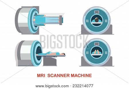 Mri Scanner Machine Technology And Diagnostics , Medical Health Care Vector Illustration.