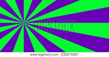 Vibrant Abstract Green And Violet Background With Sunburst Pattern. Radial Vibrant Colorful Rays For