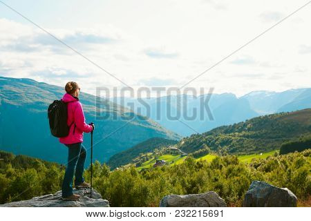 Young Woman Hiking Travel In Nature, Norway, Active Vacation