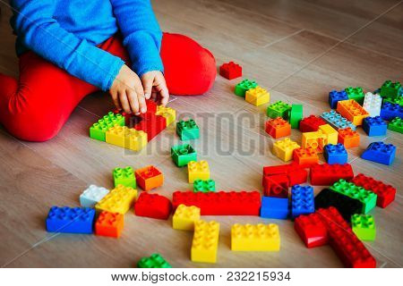 Little Girl Playing With Colorful Plastic Blocks, Learning Concept
