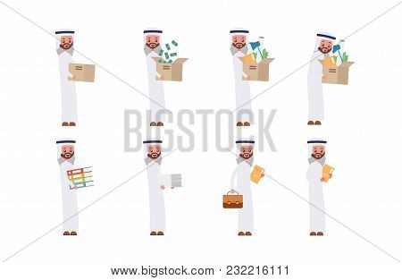 Carries Boxes, Gets A Job, Carries Money, Documents. Arab Saudi Businessman. Cartoon Character Set