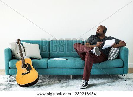 Man composing a new song