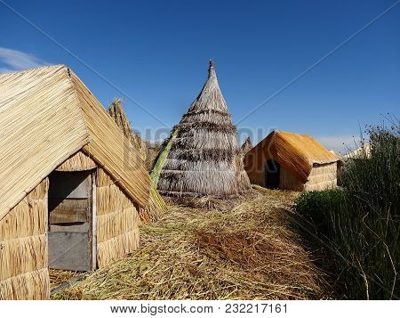 Traditional Uru House On The Titicaca Lake Near Puno Peru