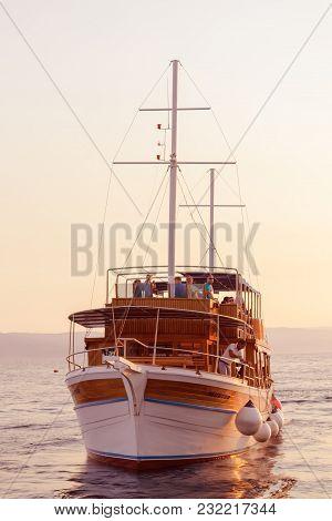 Brela, Croatia - July 18 2017 Pleasure Boat, By Sunset