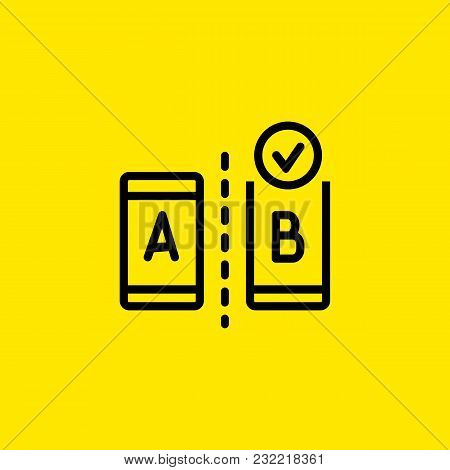 Icon Of Ab Testing. Modern Devices, Choice, Result. Comparison Concept. Can Be Used For Topics Like