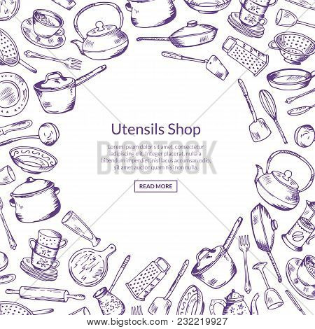Vector Banner And Poster Background With Kitchen Utensils With Place For Text Illustration