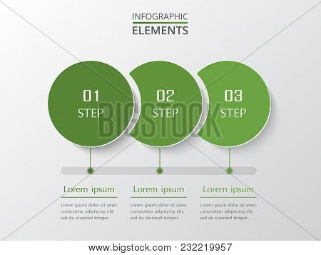 Vector Business Template For Presentation. Abstract Elements Of Graph, Diagram And Chart With 3 Step