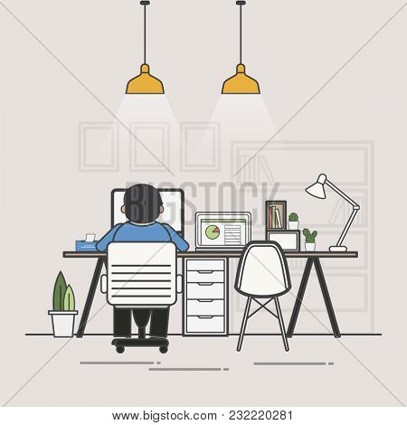 Illustration of office worker avatar