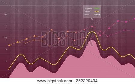 Business Data Graph Chart, Diagram Vector Illustration. Growth Company Profit Economic Concept. Tren