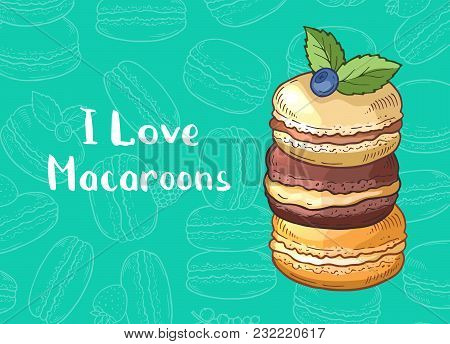 Vector Background With Colored Hand Drawn Sweet Macaroons And Place For Text Illustration