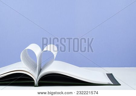 Old Open Hardback Book, Page Decorate Into A Heart Shape For Love In Valentine's. Love With Open Boo