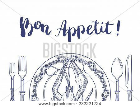 Vector Background With Place For Text And Hand Drawn Tableware With Lobster On Plate Illustration