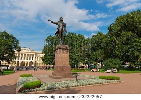Russia, Saint Petersburg - August 18, 2017: Monument To The Great Russian Poet Alexander Pushkin On