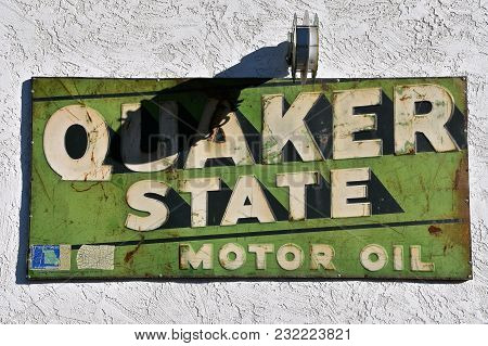 Cornville, Arizona, January 30, 2018: The Old Quaker State Sign Represents Quaker State Motor Oil, A
