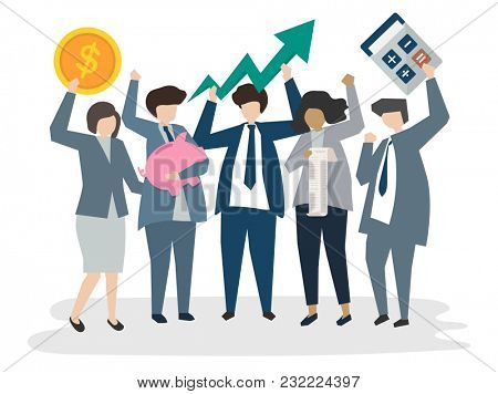 Illustrated corporate business people