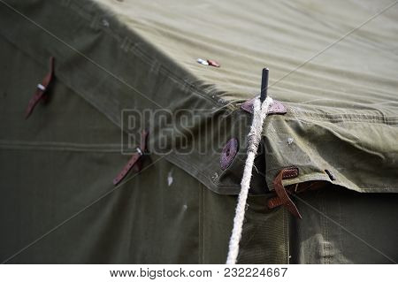 Green Military Tent Detail Shot
