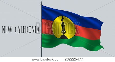 New Caledonia Waving Flag On Flagpole Vector Illustration. Blue Red Green Stripes Of Caledonian Wavy