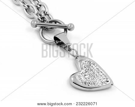 Heart Necklace - Stainless Steel And Cubic Zircons