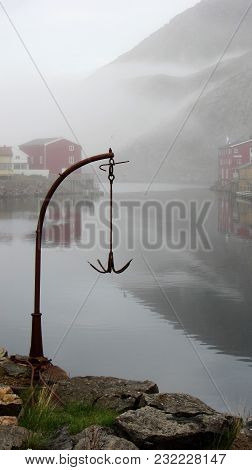 Anchor In The Fog. Nyksund In Vesteraalen Is A Closed Fishing Industry, But Has Become A Popular Des