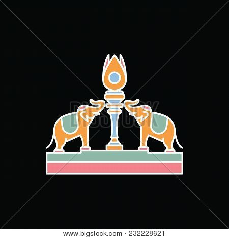 Elephants Statue Icon. Cartoon Elephants Statue Vector Icon For Web Design Isolated On Black Backgro