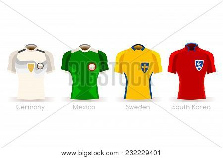 Soccer World Cup A Group Of Players With Team Shirts Flags And Ball. Referee Football Vector Illustr