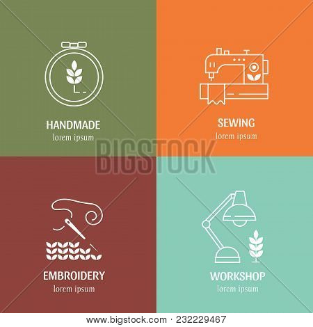 Vector Hand Made Label In Outline Trendy Style . Symbols Or Logos Of Sewing, Knit, Embroidery, Needl