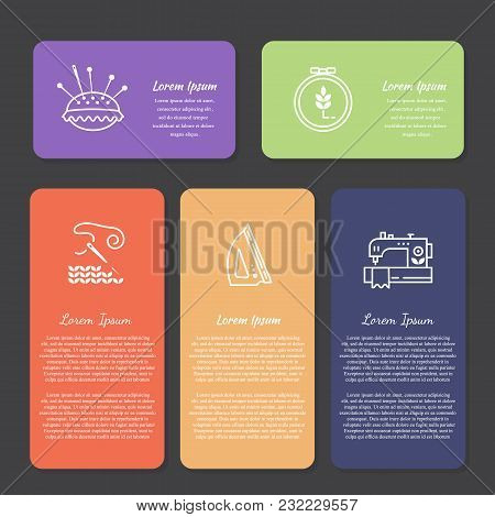 Vector Hand Made Banners And Flyers With Text. Hand Made Icons - Symbols Or Logos Of Sewing, Knit, E