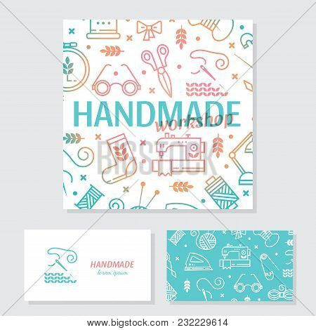 Vector Hand Made Banner And Business Card. Hand Made Icons Set - Symbols Or Logos Of Sewing, Knit, E