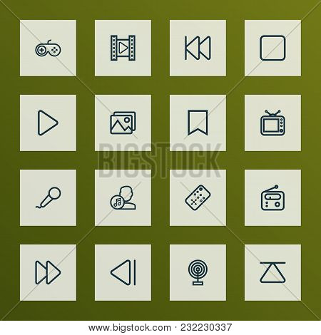 Multimedia Icons Line Style Set With Artist, Stop, Joystick And Other Composer Elements. Isolated Ve