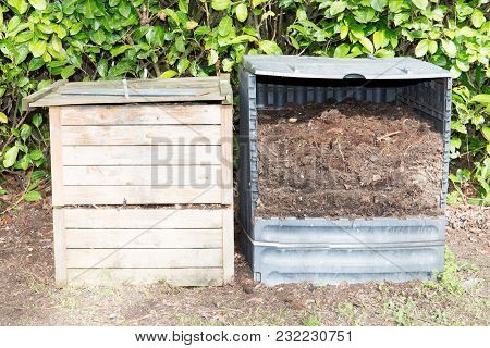 Ecological Approach Has Its Own Compost Bin In Garden