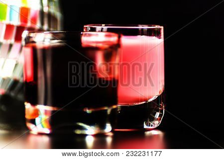 Colorful Drink Shot On Disco Mirror Ball Background, Refreshing Mini Drink