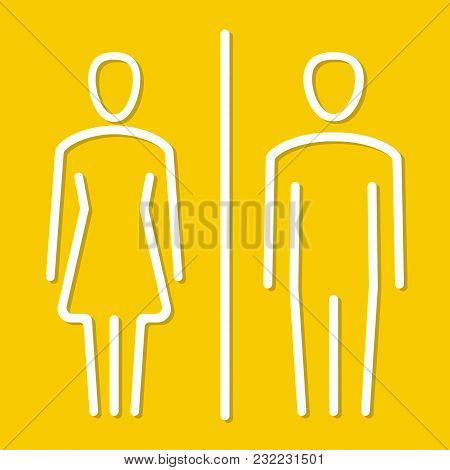 Simple Basic Icon Sign For Men And Women Toilets. Vector Illustration.