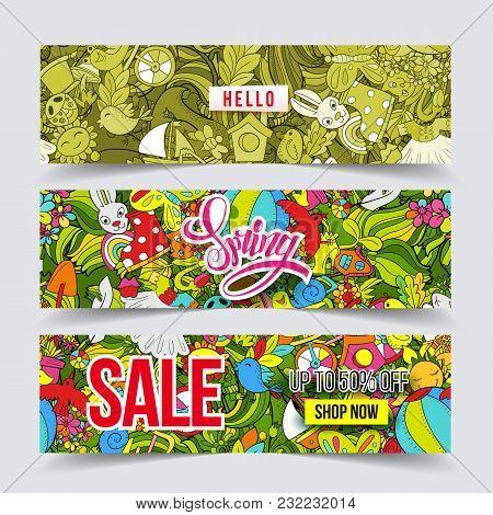 Cartoon Vector Hand-drawn Doodle Spring Sale Banner Set. Hprizontal Cards Design Templates Collectio
