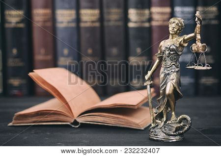 Law And Justice, Scales Of Justice, Justitia, Lady Justice, Law Library Concept, Law Books In The Ba