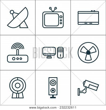 Hardware Icons Set With Tablet, Web Cam, Desktop Pc And Other Gadget Elements. Isolated  Illustratio