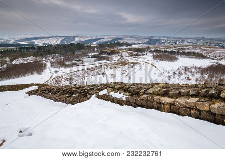 Winter Snow On Hadrian's Wall Above Walltown Quarry