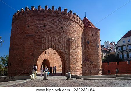 Warsaw, Poland - September 1, 2005: Warsaw Barbican Fortified Outpost, Part Of Historical City Walls