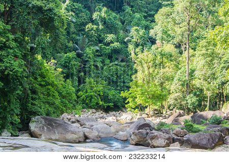 Many Rocks At Waterfall Deep In Deep Forest.