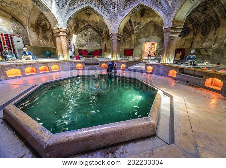 Shiraz, Iran - October 23, 2016: So Called Howz Pool In Famous Vakil Public Baths In Shiraz, Iran