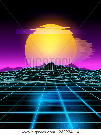Futuristic Neon Grid Lines And Mountain Landscape With A Neon Sun In Pink And Yellow. Glitch Backgro