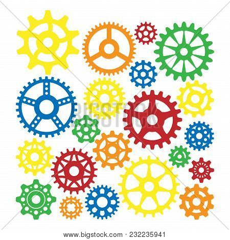 Gear Icons Isolated Vector Illustration. Mechanics Web Development Shape Work Cog Sign. Engine Wheel