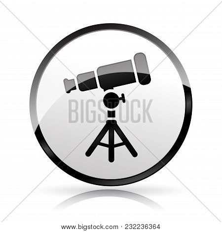 Illustration Of Telescope Icon On White Background