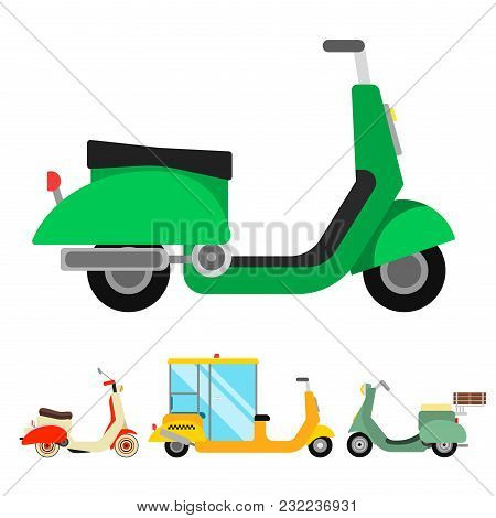 Retro Vector Vespa Scooter Motorcycle Travel Design. Motorbike Delivery Vehicle Illustration. Transp