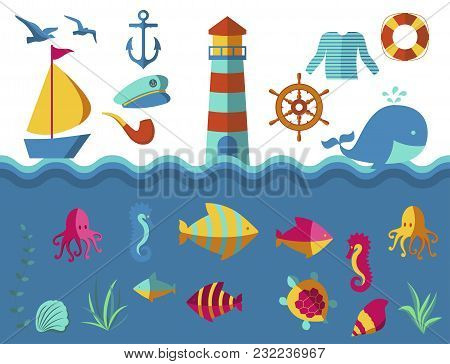 Nautical Animal Elements Wave Ocean Sea Blue Marine Vector Illustration. Water Nautical Element Abst