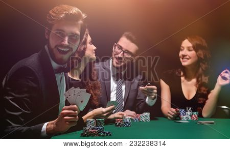 handsome man with cards