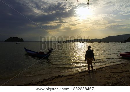 The Beach Bang Boet Beautiful With Sunset At Chumphon Province Thailand Is Famous For Travel