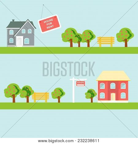 Banner For Sales, Advertising House, Cottage With Trees. Offer Of Home Purchase. Rental Of Real Esta