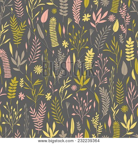 Vector Hand Drawn Floral Seamless Pattern And Backdrop. Elegant Plant Background. Intricate Modern S