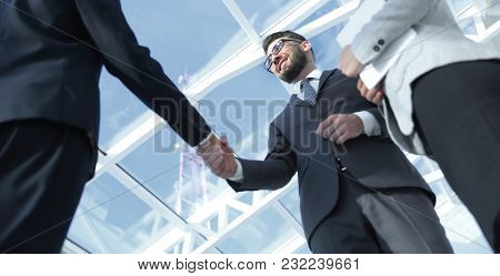 Successful business people handshake greeting deal concept