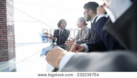 business team discussing a new presentation.